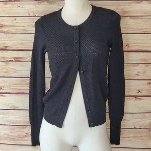 Black/Blue Open Knit Cardigan Sweater
